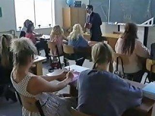 Busty Brunette Schoolgirl In Some Hot Classroom Group Sex