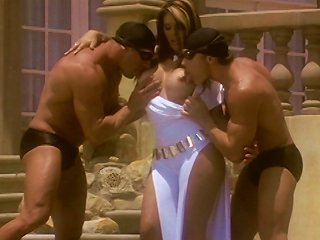 Busty Milf In White Dress Enjoys Two Cocks In Front Of The Villa