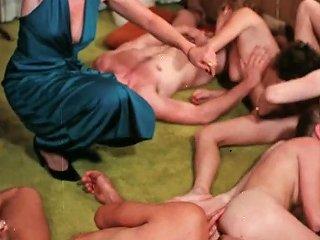 Short Haired Retro Mom In Long Dress Loves Sex Orgies